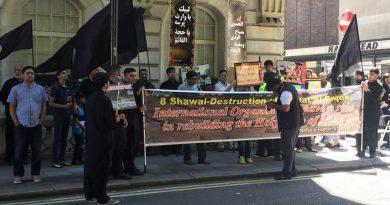 سعودی ایمبیسی لندن کے سامنے ٹی این ایف جے کا بے نظیر ماتمی احتجاج