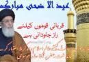قربانی قوموں کیلئے راز جاودانی ہے تحفظ ناموس رسالتؐ کیلئے عالم اسلام راہ کربلا اختیار کرے ، آغا حامد موسوی