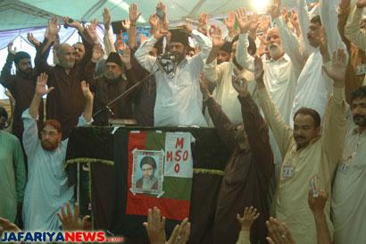 26 ستمبر 2010ء ۔ ۔۔علامہ ناصر عباس کربلا گامے شاہکے شہدائے کے چہلم پر تاریخی خطاب کررہے ہیں ۔بشکریہ جعفریہ نیوز