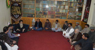 مختارفورس جھنگ فیصل آباد کا وفد قائد ملت جعفریہ سے ملاقات کررہا ہے ۔