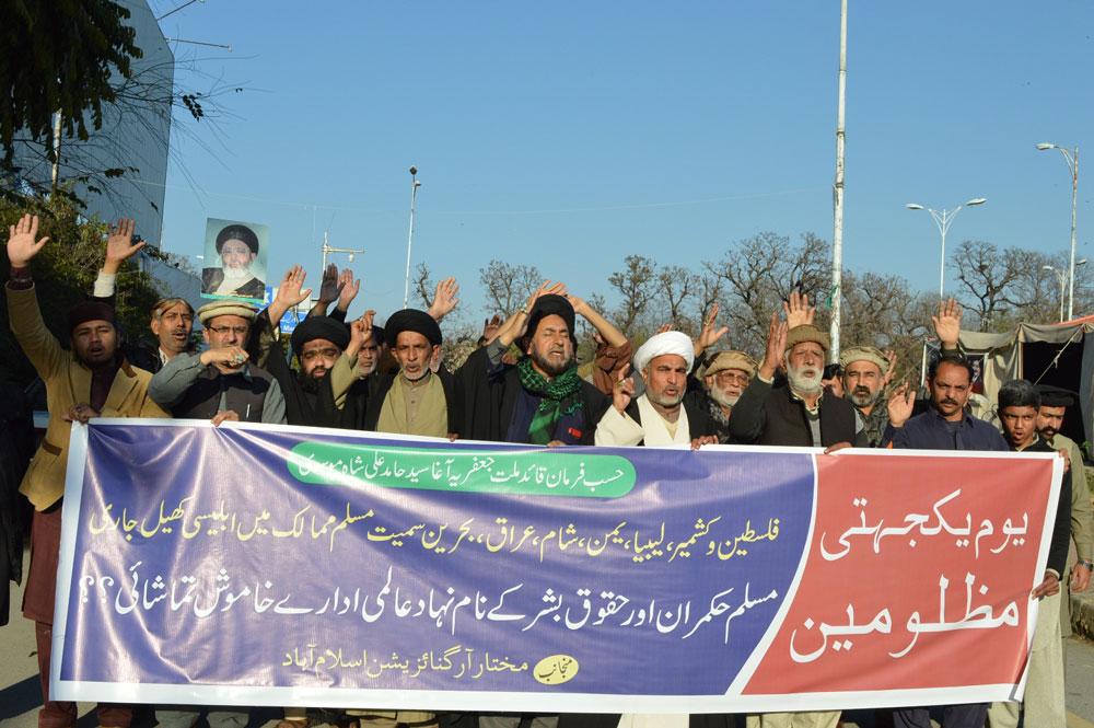 یو م یکجہتی مظلومین پر تحریک نفاذ فقہ جعفریہ کے احتجاجی مظاہرے