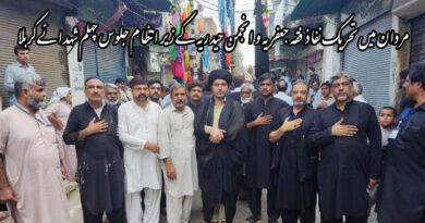 مردان خیبر پختونخواہ میں تحریک نفاذ فقہ جعفریہ و انجمن حیدریہ کے زیر انتظام جلوس چہلم شہدائے کربلا