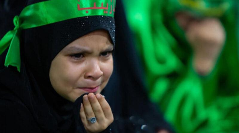 پیاسی شہزادی سکینہ ؑ کی یاد میں مابین الحرمین اشکوں کے دریا بہاتا طویل ترین دسترخوان